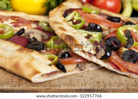 mixed pide - stock photo
