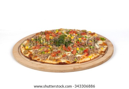 mixed pizza isolated on a white background