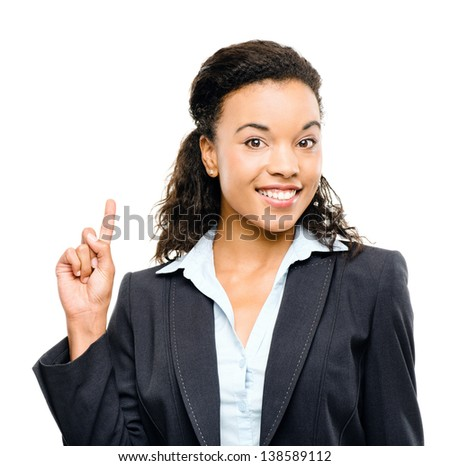 mixed race businesswoman has idea isolated on white background - stock photo