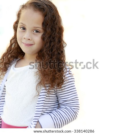 Mixed race girl isolated on white with space for advertisement  - stock photo
