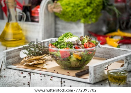 Mixed Salad, Fresh vegetables on the table