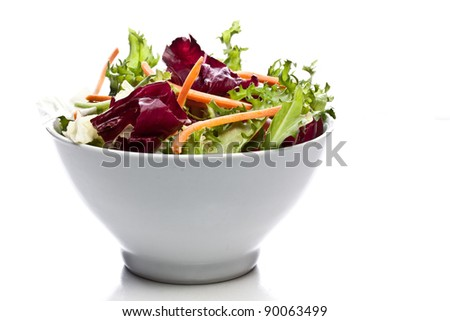 mixed salad on a bowl - withe background - stock photo