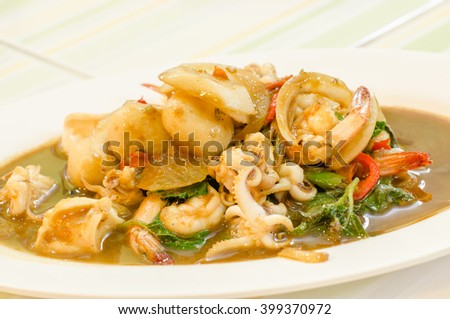 mixed seafood with basil, thai style