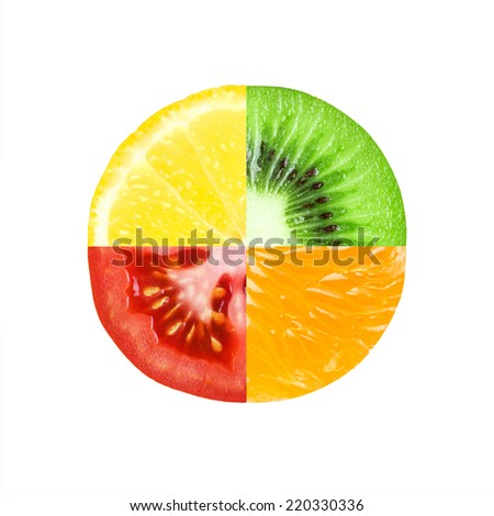 Mixed slice of fruit and vegetable. Kiwi, orange, lemon and tomato