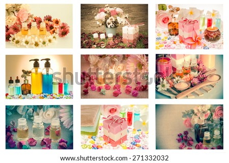 Mixed spa setting,Spa collage made nine image on white background,isolated