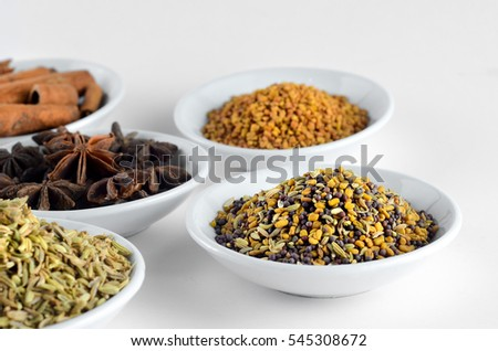 Mixed spice in bowl over white background