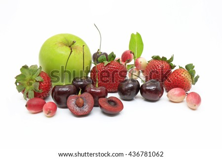 mixed tasty fruit composition set isolated on white