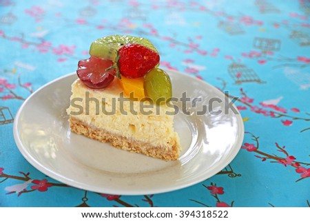 Mixed tropical fruit cheese cake