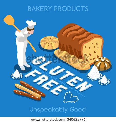 Mixed Types of Gluten Free Fragrant Bread. Flat 3d Isometric Colorful Concept of Fresh Bakery Products. Simply Delicious Taste of Home JPG JPEG Image Drawing Object Picture Graphic Art - stock photo