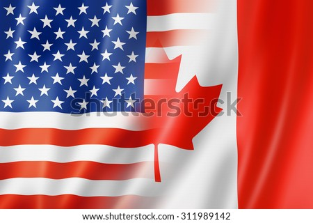Mixed USA and Canada flag, three dimensional render, illustration - stock photo