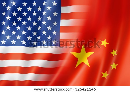 Mixed USA and China flag, three dimensional render, illustration