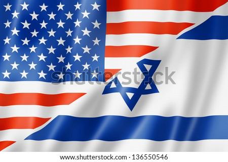 Mixed USA and Israel flag, three dimensional render, illustration - stock photo
