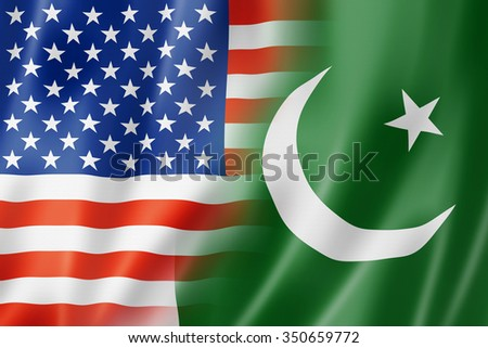 Mixed USA and Pakistan flag, three dimensional render, illustration - stock photo