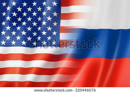 Mixed USA and Russia flag, three dimensional render, illustration