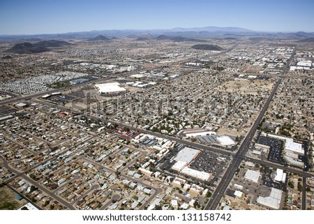 Mixed use near Interstate 17 in northwest Phoenix, Arizona from above - stock photo