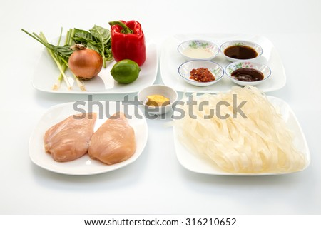 Mixed vegetable plate for an Asian dish includes red bell pepper, lime, scallions, onion, ginger, Thai basil, sauces, chicken, and wide rice noodles on white background - stock photo