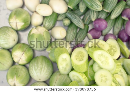 Mixed vegetables (Cucumber, eggplant, aubergine and brinal) - stock photo