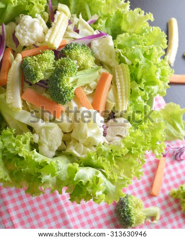 Mixed Vegetables have a carrots, broccoli, cauliflower,  Purple cabbage, lettuce - clean food concept - stock photo