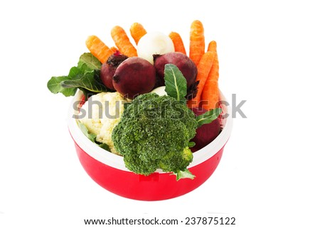 Mixed Vegetables Isolated on White Background. Organic food. - stock photo