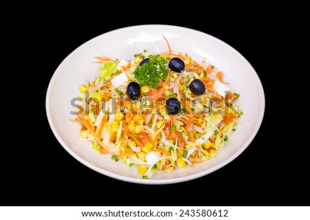 mixed vegetables on white plate - stock photo