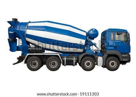 Mixer lorry isolated on white - stock photo