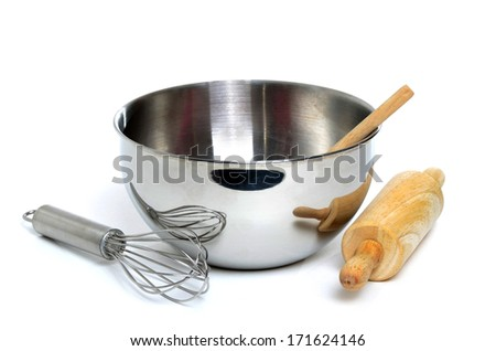 mixing bowl and utensils white background isolated - stock photo