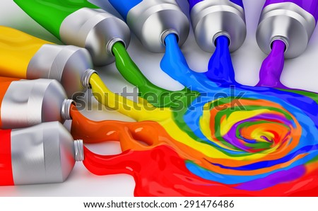 mixing colors - stock photo