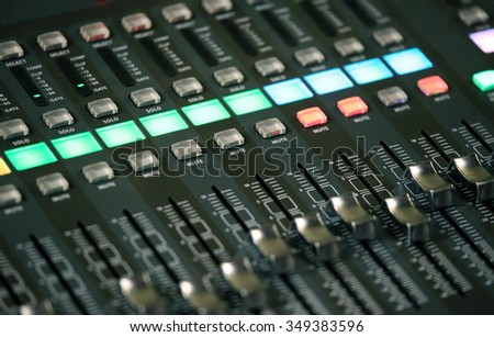 mixing console of a complicated system hi fi during rock concert