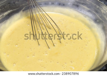 mixing ingredients to preparing a sponge cake with a whipper  - stock photo