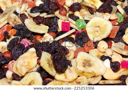 mixture dried fruits as element profit health meal - stock photo