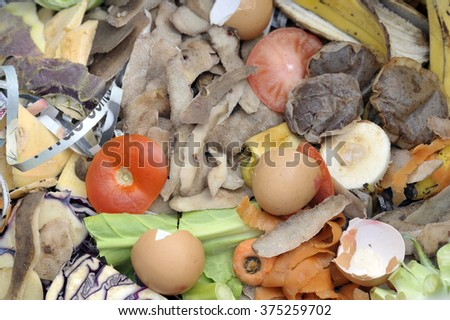 Mixture of composting materials comprising fruit and vegetable kitchen raw food waste with shredded newspaper. - stock photo