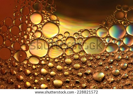 Mixture of olive oil and water / Abstract bubbles - stock photo