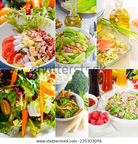 mixwd fresh salad collage composition nested on a square frame - stock photo