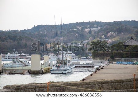 MIYAGI, JAPAN - APRIL 16 : View of Matsushima bay with boat on April 16, 2016 Miyagi, Japan. The Matsushima bay is very beautiful and famous for tourists around the world.