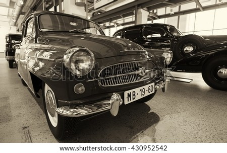 MLADA BOLESLAV, CZECH REPUBLIC -JUNE 23, 2014: Skoda Auto Museum in Mlada Boleslav. Automobile museum presents the history of the company Skoda Auto and it is predecessor Laurin & Klement - stock photo