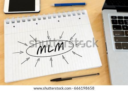MLM   Multi Level Marketing   Handwritten Text In A Notebook On A Desk   3d