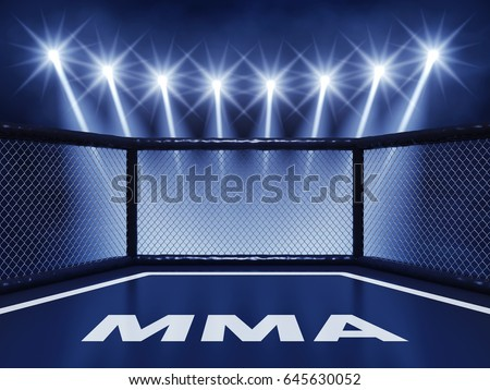 MMA cage mat illuminated by spotlights , Mixed martial arts fight night event , 3d illustration