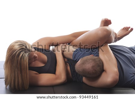 MMA female fighter in training - stock photo