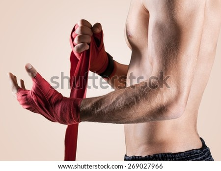 Mma, fighter, gym. - stock photo