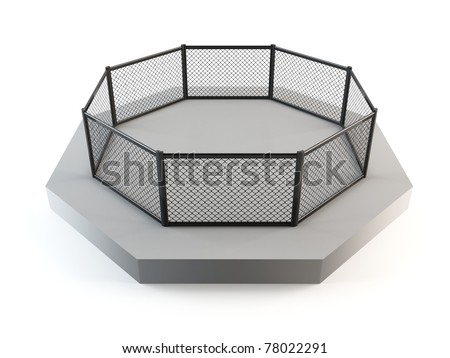 MMA octagon ring - stock photo