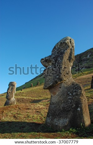 Moai at Rano Raraku, Easter Island, Chile - stock photo