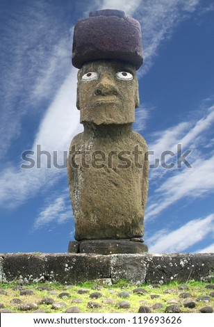 Moai at Tahai Beach - stock photo