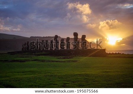 moai. Easter Island.Mountains. Statues. Ocean. - stock photo