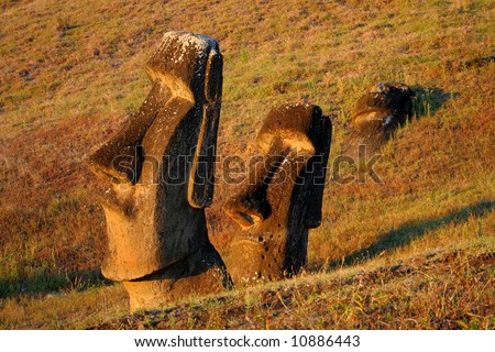 Moai Hinariru on Easter Island at sunset (Rano Raraku) - stock photo