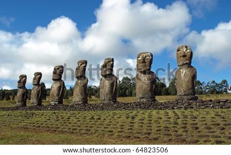 Moai in Easter Island - stock photo