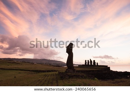Moai in the Rapa Nui National Park during the sunset, Easter Island, Chile, South America - stock photo
