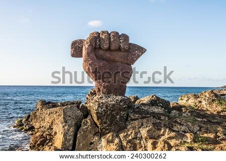 Moai of the  Easter island, Chile. UNESCO World Heritge - stock photo