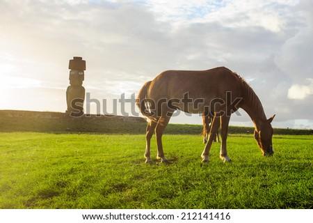 moai. South America. Easter Island. - stock photo