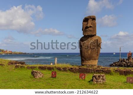 moai. South America. Easter Island. Ocean. - stock photo