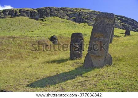 Moai stone statues on Rapa Nui, Easter Island, Chile - stock photo